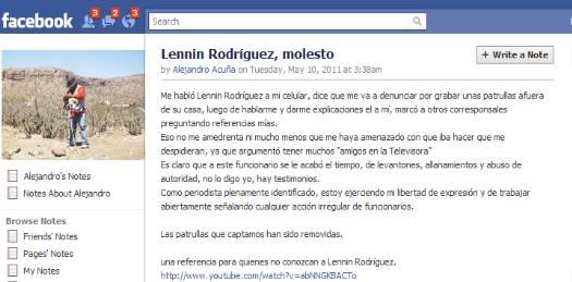 Acusa reportero a Lennin Rodríguez de amenazas