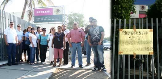 SEDESOL en paro en solidaridad con sindicalizados encarcelados en Hidalgo