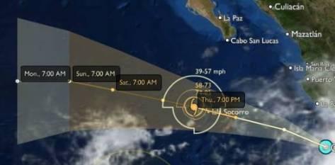 """El Sistema Nacional de Protección Civil no ha emitido alertas por posible afectación de """"Greg"""", ni para la navegación, como tampoco para los habitantes de las costas mexicanas del Pacífico."""