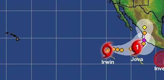 Alerta en costas mexicanas por Jova e Irwin