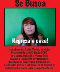 La familia de Jessica, han posteado la foto de la joven en las redes sociales solicitando a los cibernautas y a la sociedad en general, aporten algún dato que lleve a su localización.