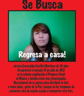 Buscan familiares a jovencita desaparecida