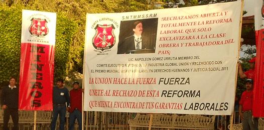 Protestan sindicatos contra la Reforma laboral