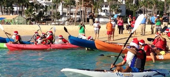 Carrera de Santa Claus en kayak
