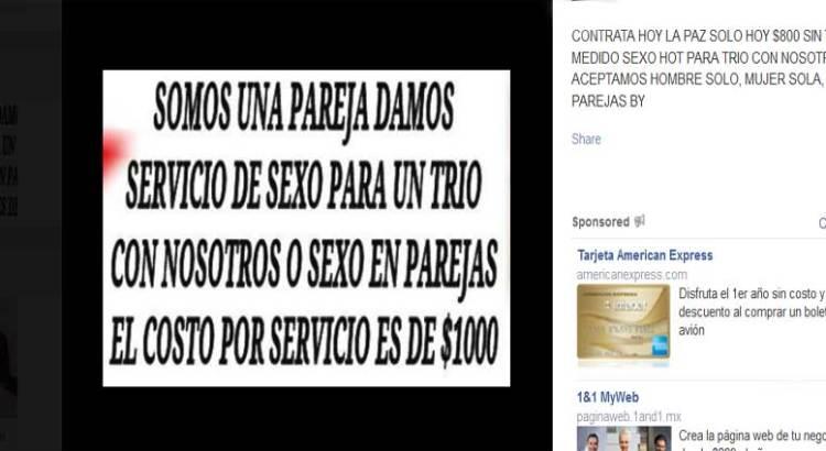 Ahora, prostitución por Facebook