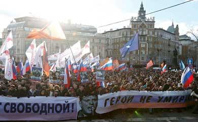 Marchan miles en Moscú
