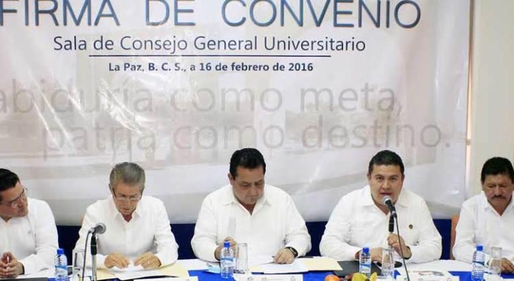 Firman convenio UABCS, Gobierno del Estado e IMSS