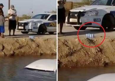 Cayó con su auto en un canal…