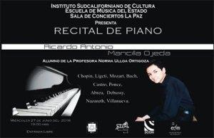 El virtuoso joven Ricardo Mancilla es alumno de la profesora Norma Ulloa Ortigoza.