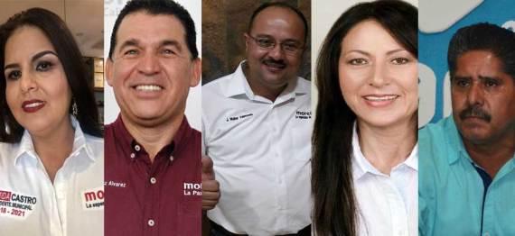 Castro Cota, Muñoz Alvarez, Valenzuela Acosta, Arce Peralta y Prado Bautista aventajan en la elección para alcalde de Los Cabos, La Paz, Comondú, Loreto y Mulegé respectivamente.