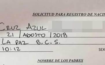 """Querían registrar a su hijo como """"Cruz Azul"""""""