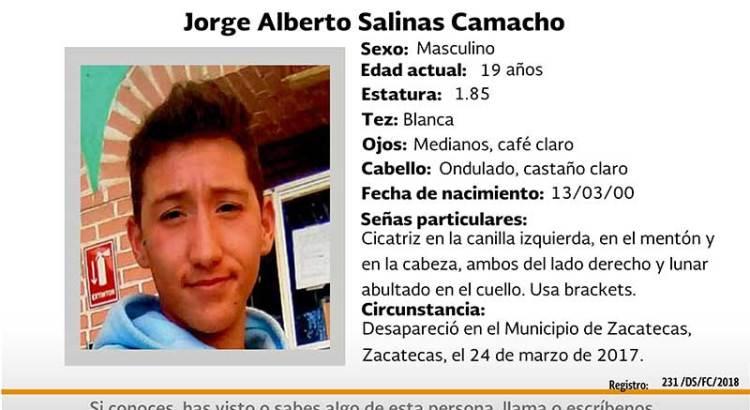 ¿Has visto a Jorge Alberto Salinas Camacho?