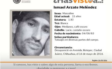 ¿Has visto a Ismael Arzate Meléndez?