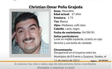¿Has visto a Christian Omar Peña Grajeda?