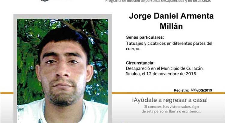 ¿Has visto a Jorge Daniel Armenta Millán?