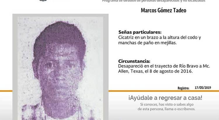 ¿Has visto a Marcos Gómez Tadeo?