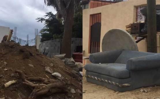"""Aguas negras, baches y """"cerros"""" de basura, el paisaje de CSL"""