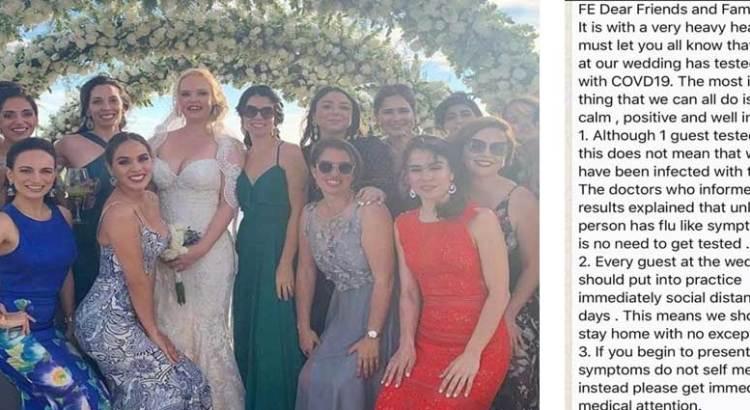 Acudió a una boda la pareja infectada con COVID-19