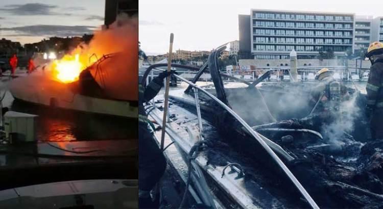 Se incendió yate en la marina de CSL