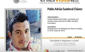 ¿Has visto a Pablo Adrián Sandoval Chánez?