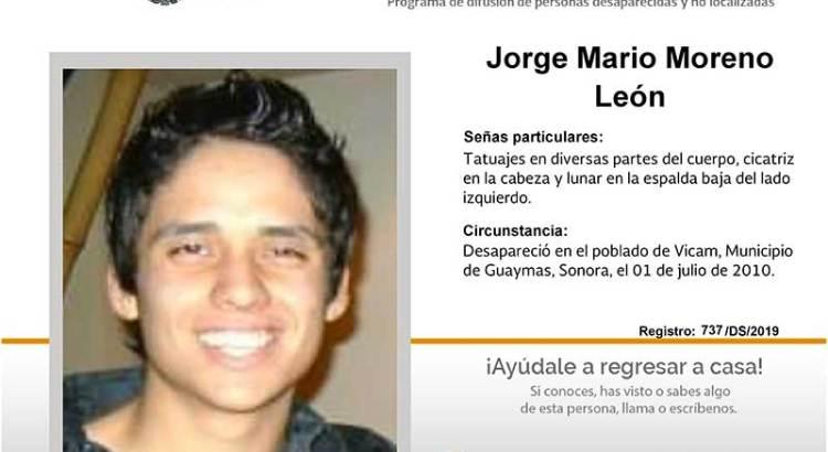 ¿Has visto a Jorge Mario Moreno León?
