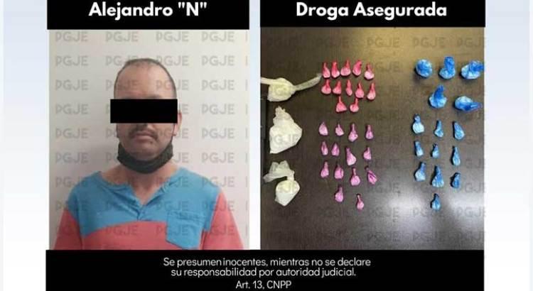 Asegura la PGJE  2 mil 700 dosis de droga