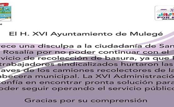 No habrá recolección de basura en Santa Rosalía