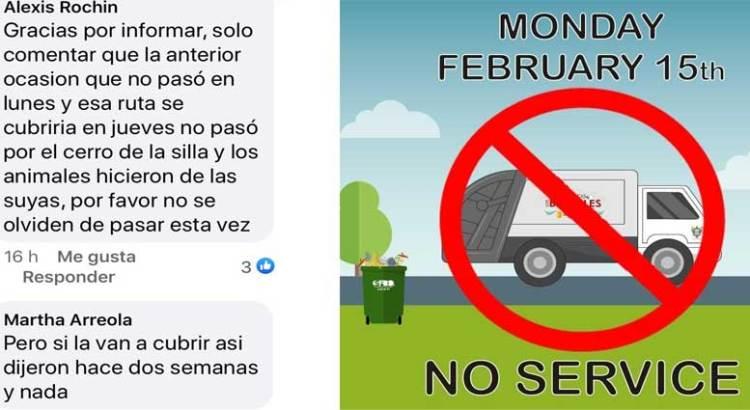 No habrá recolección de basura en Los Barriles
