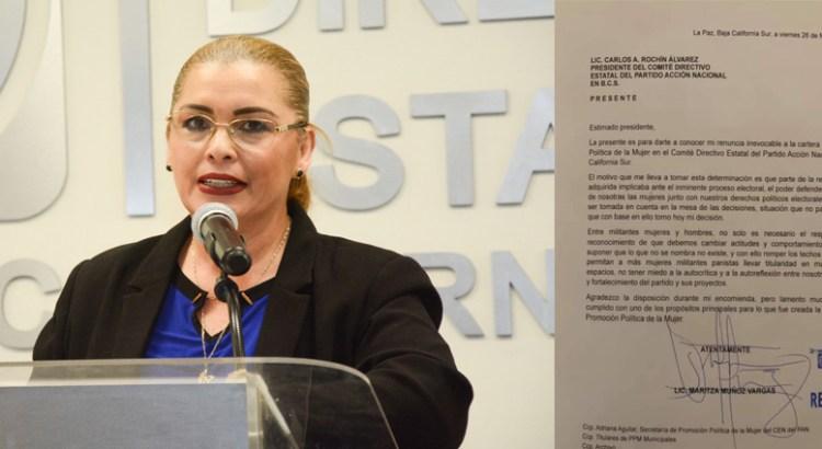 Renuncia Maritza Muñoz a su cartera en el PAN