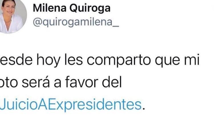 Milena Quiroga a favor de enjuiciar a los expresidentes