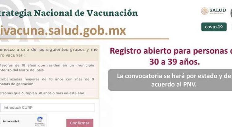 Abierto el registro para vacunación de personas entre 30 y 39 años