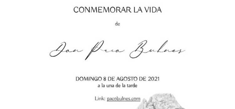 """Este domingo, ceremonia virtual en honor de """"Paco"""" Bulnes"""