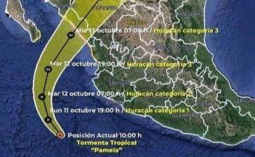 Podría Pamela convertirse en huracán categoría 1