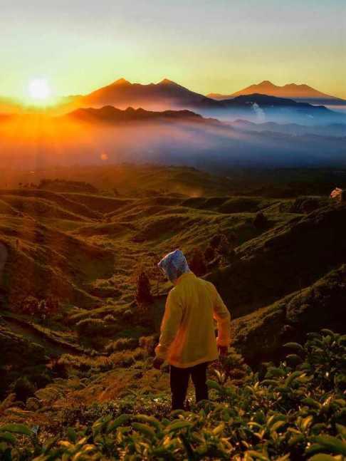 Pemandangan sunset di gunung