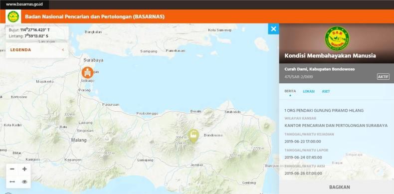 Info SAR Thoriq di Bukit Piramid Pegunungan Argopuro dari website Simasda Basarnas