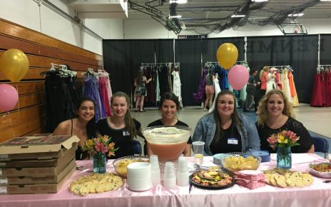 Lisa Allard, Kristy Turner, Codi Lyons, Izzy Proia and Rebecca Lariviere welcome teens to the event.