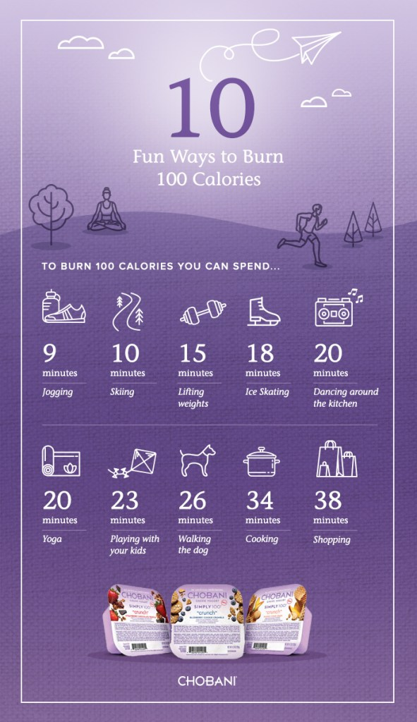 10 ways to burn 100 calories with Chobani Simple 100 Crunch