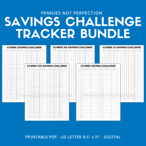 52 Week Savings Challenge Tracker Printable Bundle | Money Challenge Trackers | Savings Tracker PDF 1