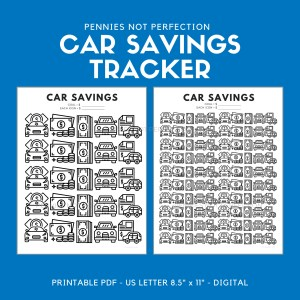 Car Fund Savings Tracker | Car Savings Goal Tracker | Savings Printable PDF