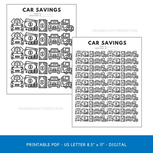 Car Fund Savings Tracker | Car Savings Goal Tracker | Savings Printable PDF