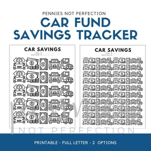 Car Fund Savings Tracker | Car Savings Goal Tracker | Savings Printable PDF - Pennies Not Perfection