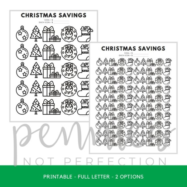 Christmas Savings Tracker Printable | Savings Coloring Chart - Pennies Not Perfection 2