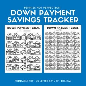 Down Payment Savings Goal Tracker | House Down Payment Savings Printable 1