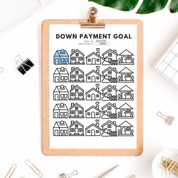 Down Payment Savings Goal Tracker | House Down Payment Savings Printable 5