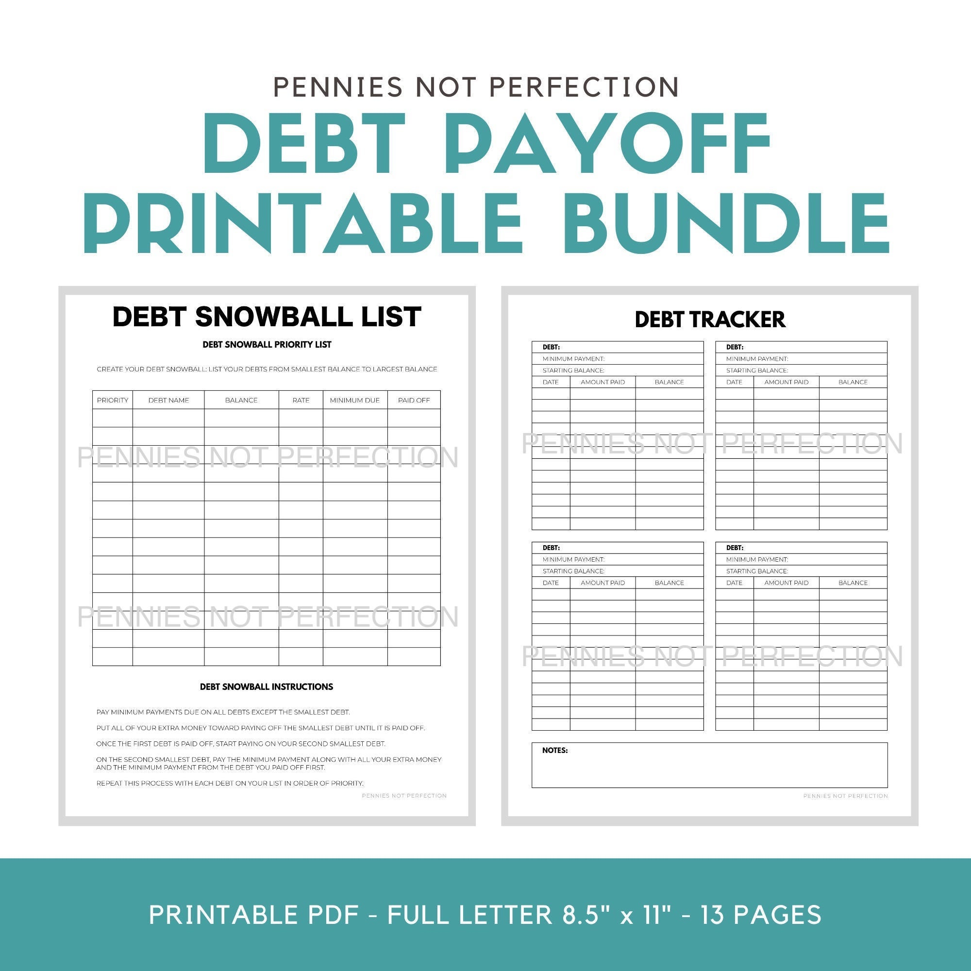 Debt Payoff Planner Bundle Printable Bundle