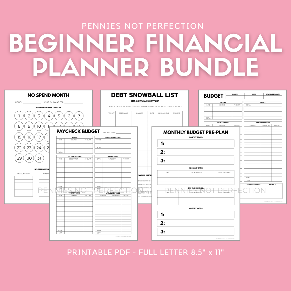 Budget Planner Printable Bundle   Financial Printable Bundle   Budgeting, Savings, Debt Payoff 1