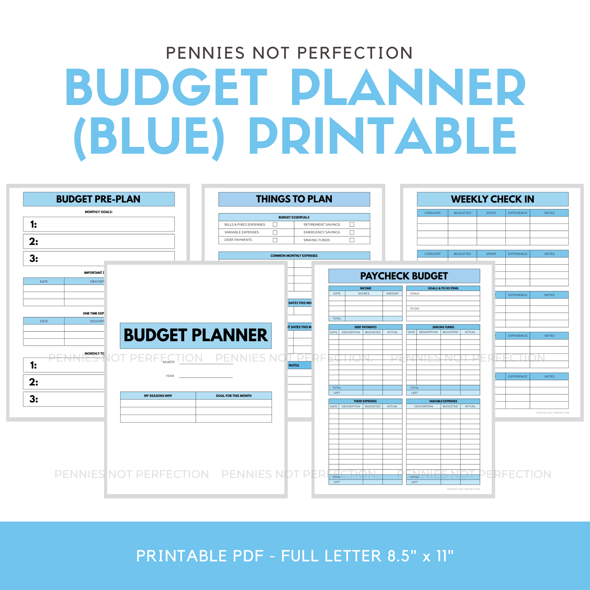 Blue Monthly Budget Paycheck Budget Printable Planner