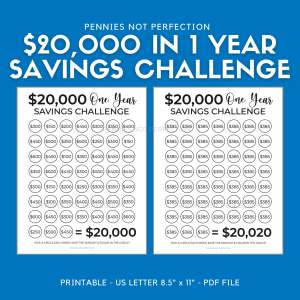 Save 20,000 Dollars In One Year | Money Saving Challenge 20K | 20,000 Dollar Savings Challenge Tracker Printable