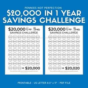 Save 20,000 Dollars In One Year | Money Saving Challenge 20K | 20,000 Dollar Savings Challenge Tracker Printable
