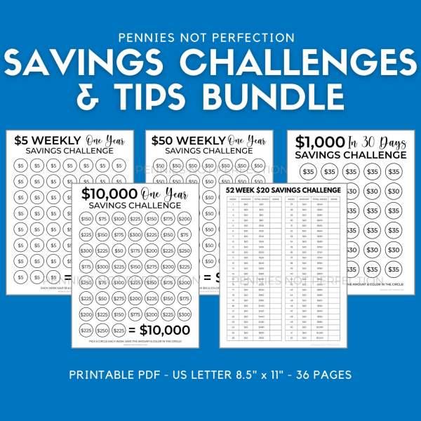Saving Challenges Bundle + 80 Savings Tips | Save Money Challenge Trackers Printable Bundle - Pennies Not Perfection Printables 1